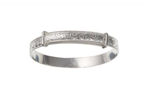 Baby Bangle Solid Silver 18 months - 3 years Embossed Childs Bracelet Hallmarked